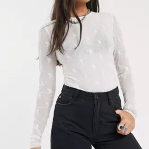 Free people make out mesh embroidered bodysuit